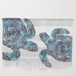 Sea Turtle Blue Watercolor Art Wall Hanging