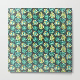 Modern green yellow tropical monster cheese leaves pattern Metal Print