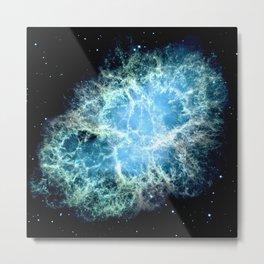 Crab Nebula : Aqua Teal Blue Galaxy Metal Print