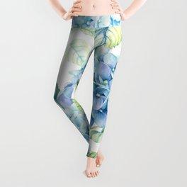 Blue Hydrangea Leggings