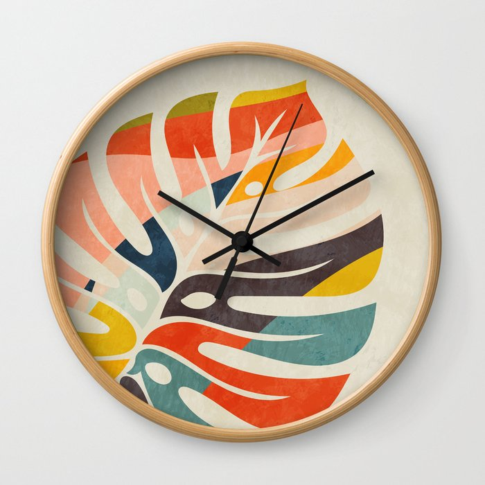 shape leave modern mid century Wall Clock