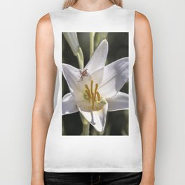 White lily close-up Biker Tank