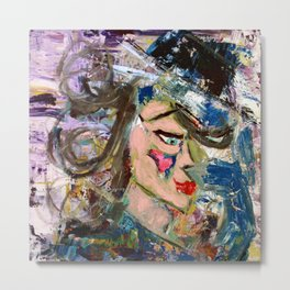 Mrs. Chuckles: Abstract Acrylic Painting of a woman Metal Print