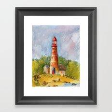 Red Lighthouse Framed Art Print