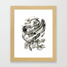 Dragon Phoenix Tattoo Art Print Framed Art Print