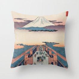 Mount Fuji above Ancient Street Ukiyo-e Japanese Art Throw Pillow