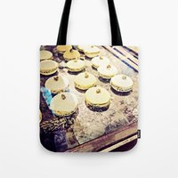 macaron Tote Bags featuring macaron by inourgardentoo