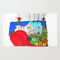 guinea pig Area & Throw Rugs featuring Guinea Pigs In A Cage by Adamzworld