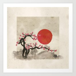 Sakura Blossom Landscape Zen hieroglyph Art Print