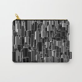 Tall city B&W inverted / Lineart city pattern Carry-All Pouch