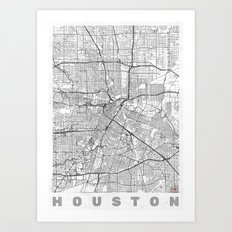 Houston Map Line Art Print