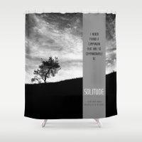 bible Shower Curtains featuring Henry David Thoreau - Solitude by Schwebewesen • Romina Lutz