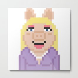 Miss Piggy The Muppets Pixel Character Metal Print
