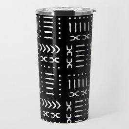 Black White Mud Cloth Pattern Travel Mug