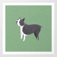 boston terrier Art Prints featuring Boston Terrier by Emma Block