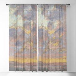 "Claude Monet ""Coucher de soleil"" Sheer Curtain"