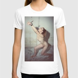Nude woman cuffed and chained T-shirt