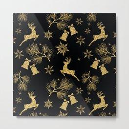 Christmas pattern.Golden pattern on black background. Metal Print