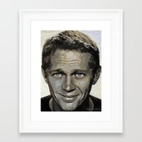 steve mcqueen Framed Art Prints featuring Hollywood - Steve McQueen by Miguel A. Martin