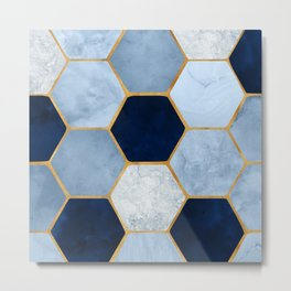 Deco Blue Marble II with Metallic Gold Accents Metal Print