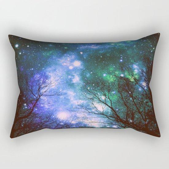 Black Trees Violet Green Space Rectangular Pillow