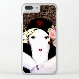 art deco dolly,,,house of harlequin Clear iPhone Case