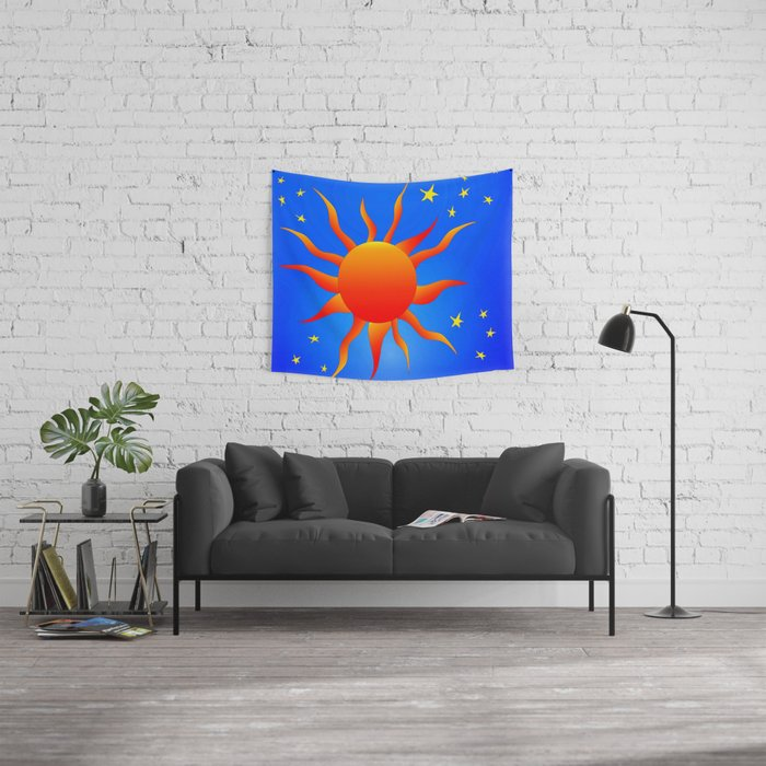 Sun and Stars Wall Tapestry