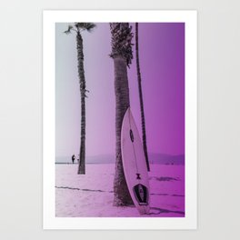 Tropical Surfboard Art Print