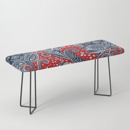 Red White & Blue Floral Paisley Bench