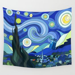 Tardis Art Starry Night Wall Tapestry