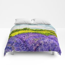 Lavender Fields Watercolor Comforters