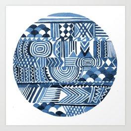 Circle Pattern Blue Art Print