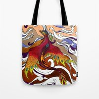 phoenix Tote Bags featuring Phoenix by Peter Fulop