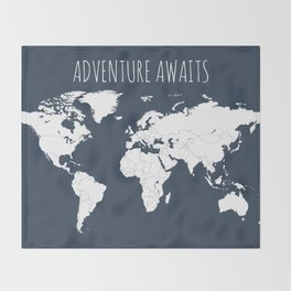 Adventure Awaits World Map in Navy Blue Throw Blanket