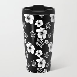 Black And White Floral And Turtle Hawaiian Pattern Travel Mug