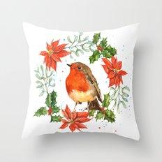 Christmas Robin print, robin painting, seasonal decor, robin illustration, retro Christmas Throw Pillow