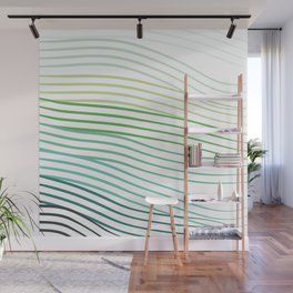 Green Stripes Wall Mural
