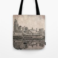 nashville Tote Bags featuring Nashville Skyline by Janet L King