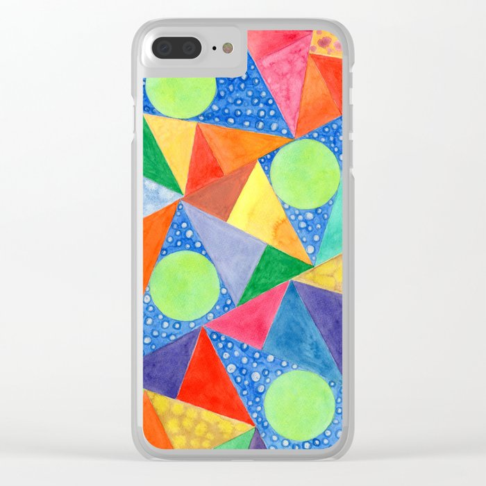 Lime Green Circles within a Cool Triangles Pattern Clear iPhone Case