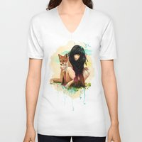 dragon ball z V-neck T-shirts featuring Fox Love by Ariana Perez