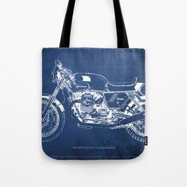 Motorcycle blueprint,2010, Moto V7, Clubman racer,poster,man cave decoration,vintage art,blue poster Tote Bag