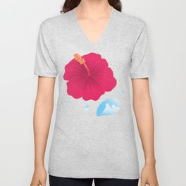 Hibiscus and Thunderhead reflected in a Drop of water_R Unisex V-Neck
