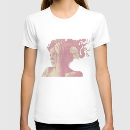 Beneath Broken Earth: Pink Shadow (lady portrait with autumn leaves) T-shirt