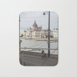 Bicycle in front of the Hungarian Parliament Bath Mat
