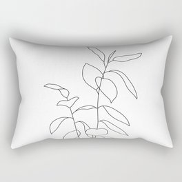 Plant one line drawing illustration - Ellie Rectangular Pillow