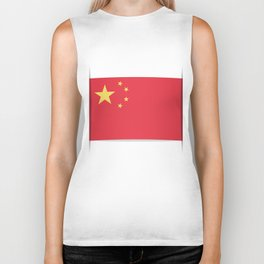 Flag of China. The slit in the paper with shadows. Biker Tank