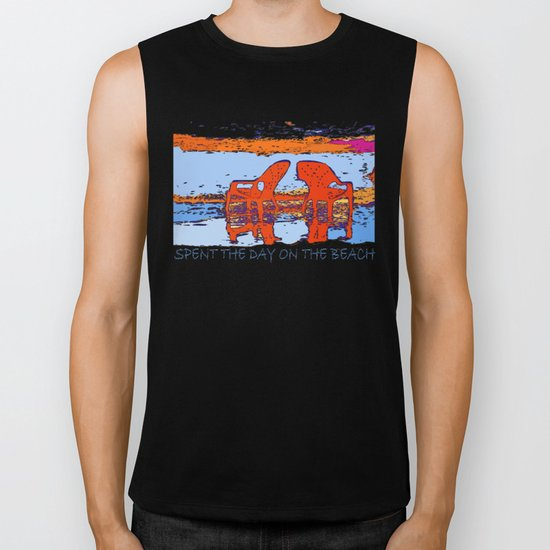 A day on the beach Biker Tank
