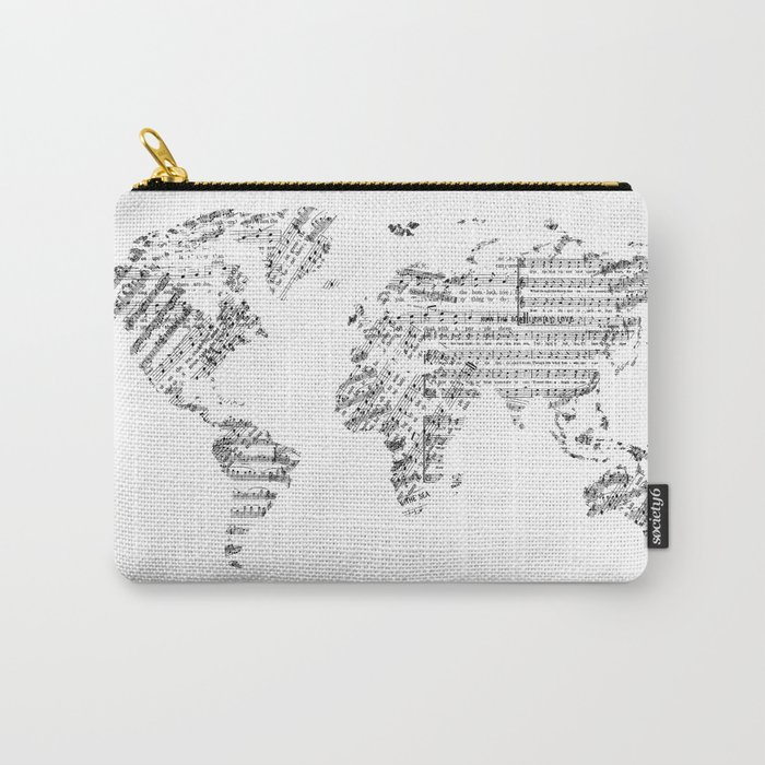 world map music vintage white Carry-All Pouch