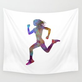 woman runner running jogger jogging silhouette 01 Wall Tapestry