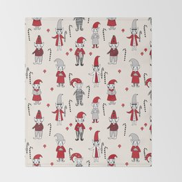 Elves santa's workshop pattern cute elf design illustrated hand drawn Throw Blanket